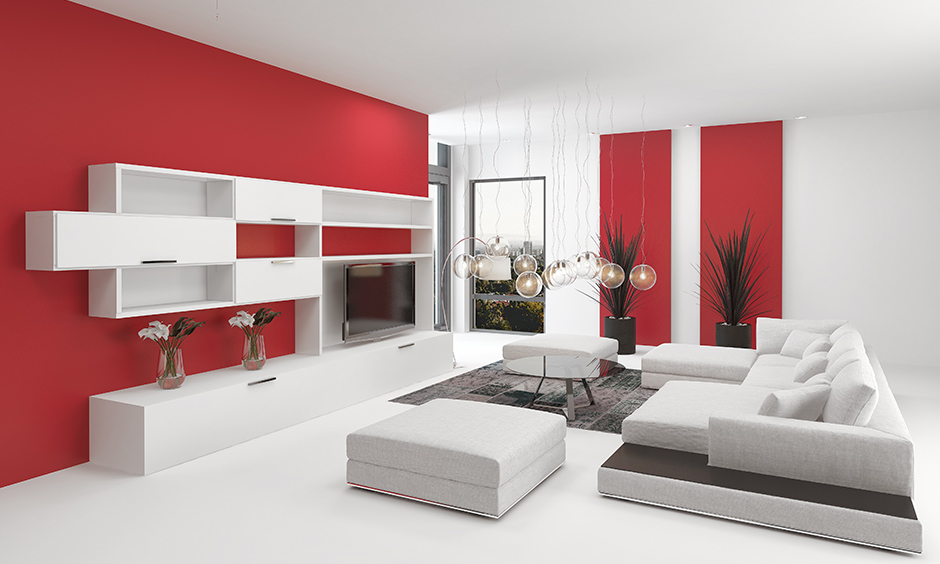 Red & White two colour combination for living room walls those who love romance and some sizzling conversations.