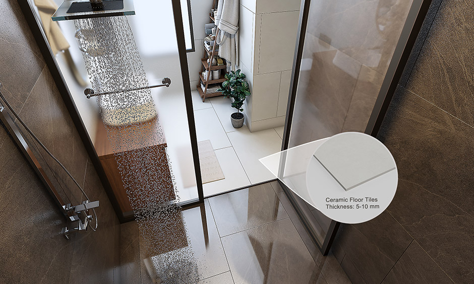 Ceramic tiles bathroom flooring which can be used in wet areas like showers, bathrooms or kitchens