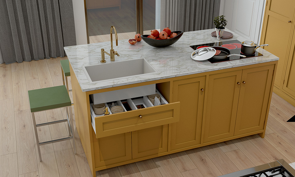 Design sink unit with storage options like wastebaskets and shelves are kitchen island ideas on a budget.