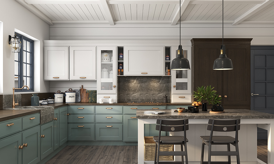 Best suited for L-shaped or straight kitchens with open walls are island kitchen layout & works as a breakfast counter.