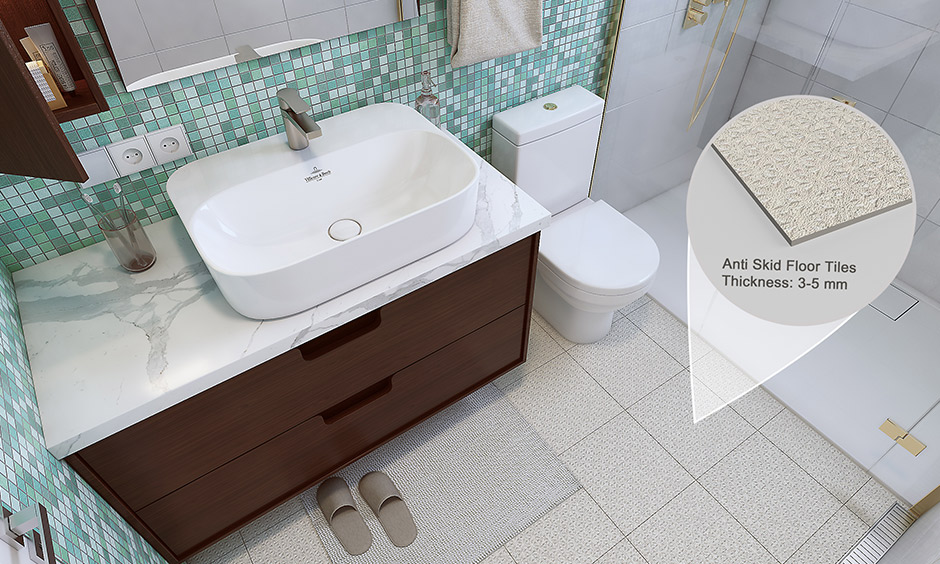 bathroom flooring ideas with anti slip tiles which is resistance to heat, stain and water