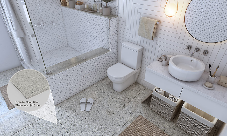 Best flooring for bathroom with granite flooring which is hard and naturally occurring stone