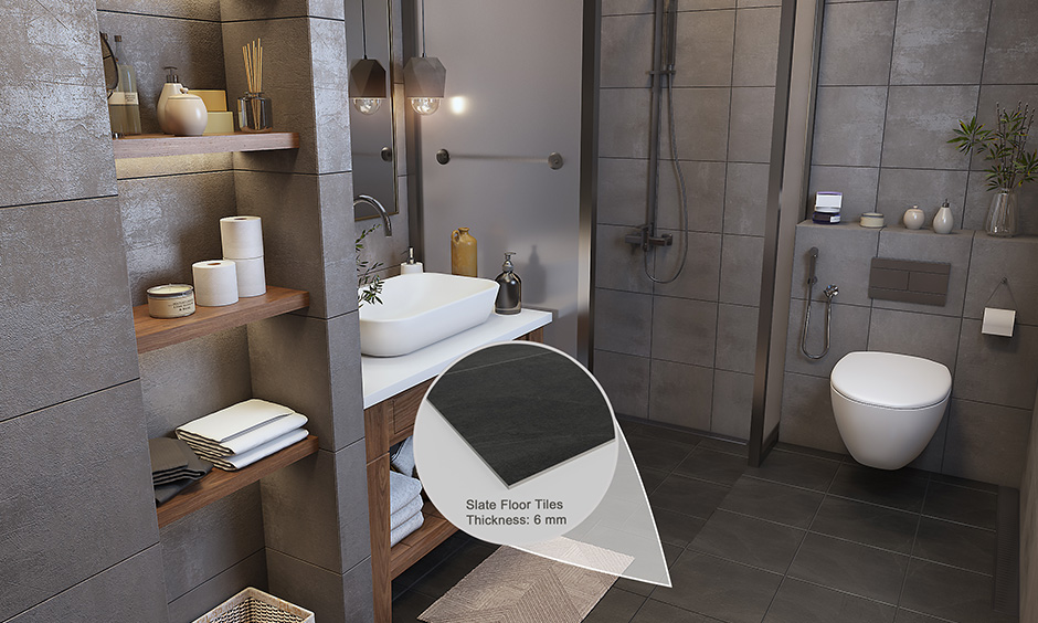 Bathroom flooring ideas on a budget with slate tiles which is anti-slippery in nature and rough texture