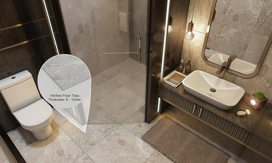 Best laminate flooring for bathroom vitrified tiles with layer of glass that gives it a sleek finish