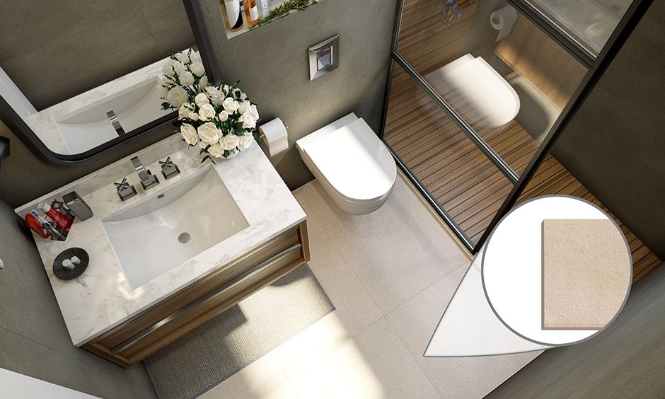 Ceramic bathroom tiles matt finish is dense, strong and durable, which means it can be used in wet zones