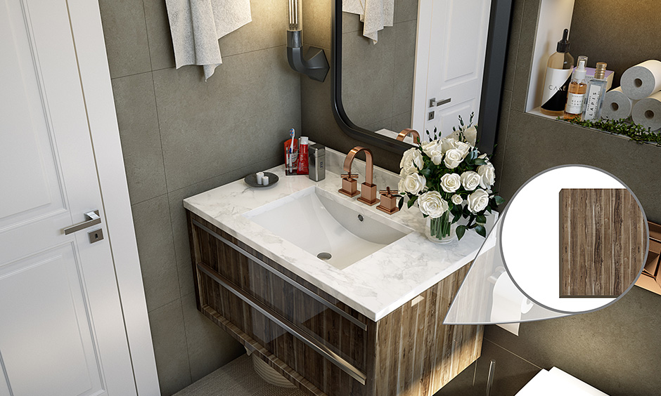 Bathroom cabinet material laminate is an excellent choice for finish & water and moisture resistant as well.