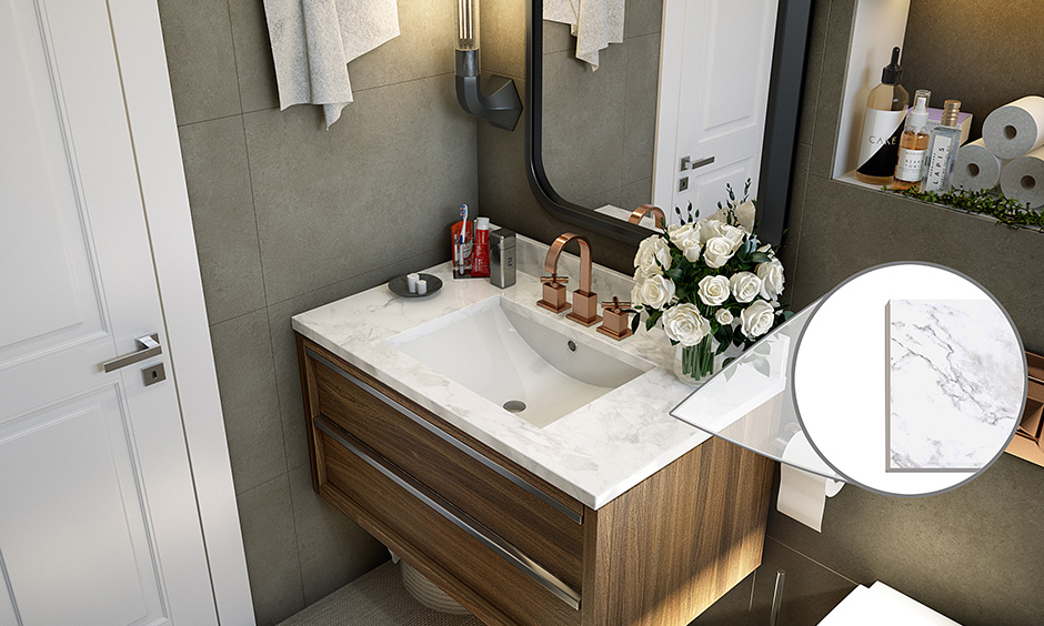 Marble bathroom floor materials resistant to water and heat but are not very durable and can crack easily.