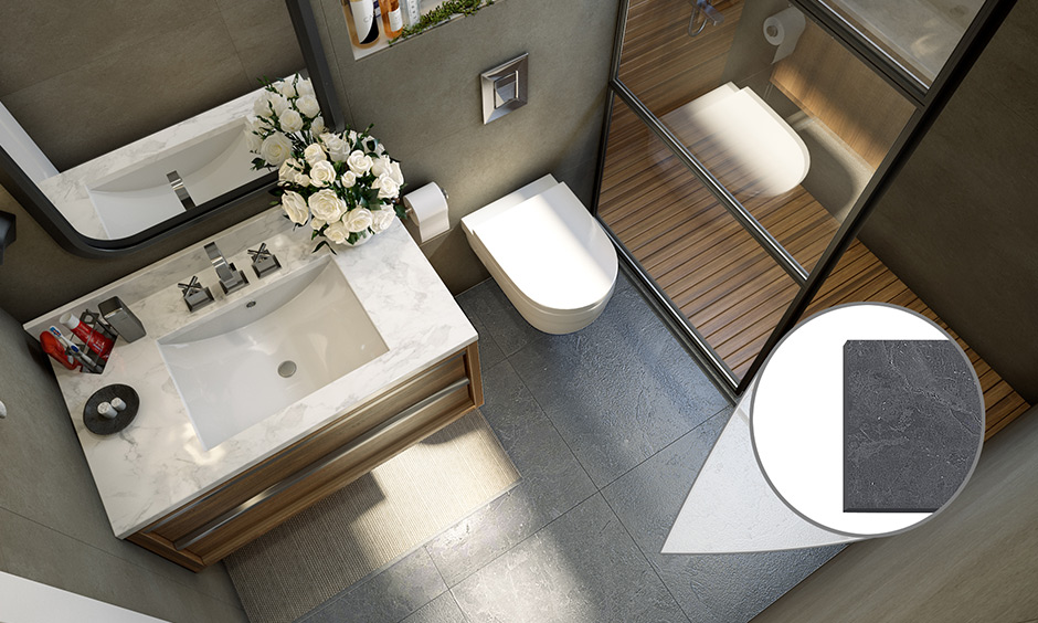 Slate bathroom tile finishes commonly used for roof tiling & bathroom flooring is highly durable.