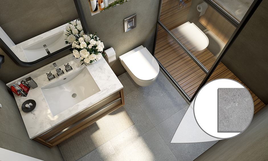 Vitrified matt finish bathroom tiles is an excellent pick for master bathroom flooring.