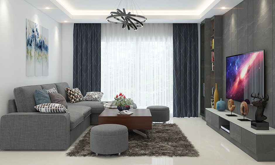 Home decor living room with wooden square shaped coffee table brings elegance to the area.