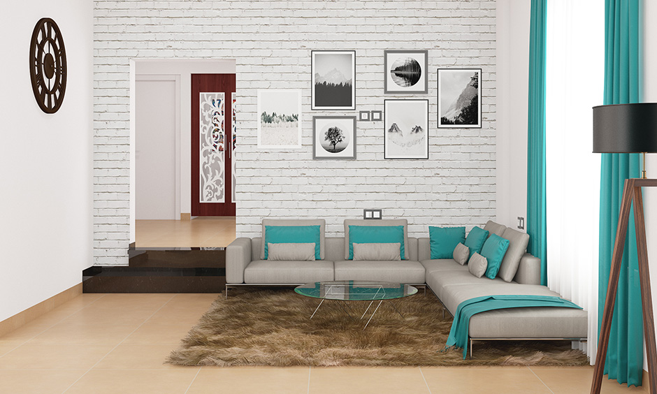 Whitewall paintings for living room with cladding bring a modern twist to this area
