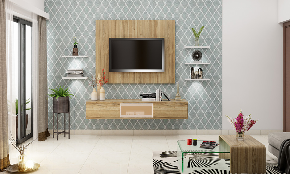 Pastel blue and white patterned wallpaper designs for living room lends a soothing vibe.