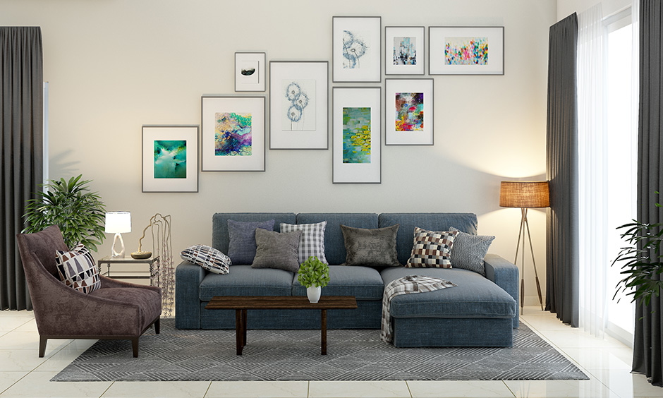 White best paint for living room walls and decorating with hanging artefacts will give your walls a makeover.