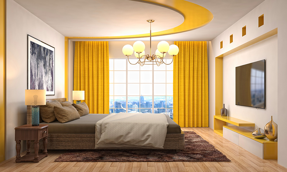Yellow curtains and drapes with bright sunny yellow floor with vibrant punch to a bedroom with curtains and blinds