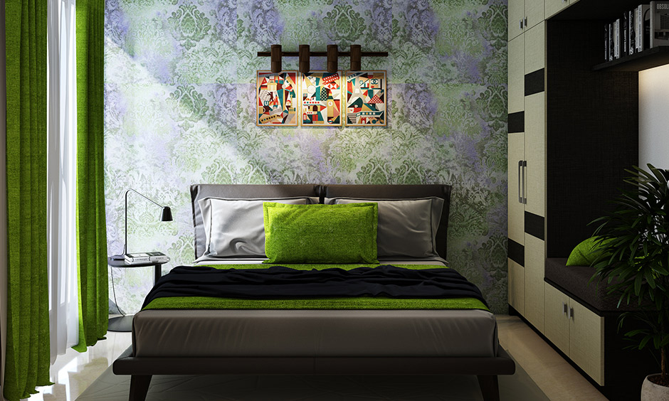 3bhk flat interior design cost of living room with emerald green design with a classic wallpaper