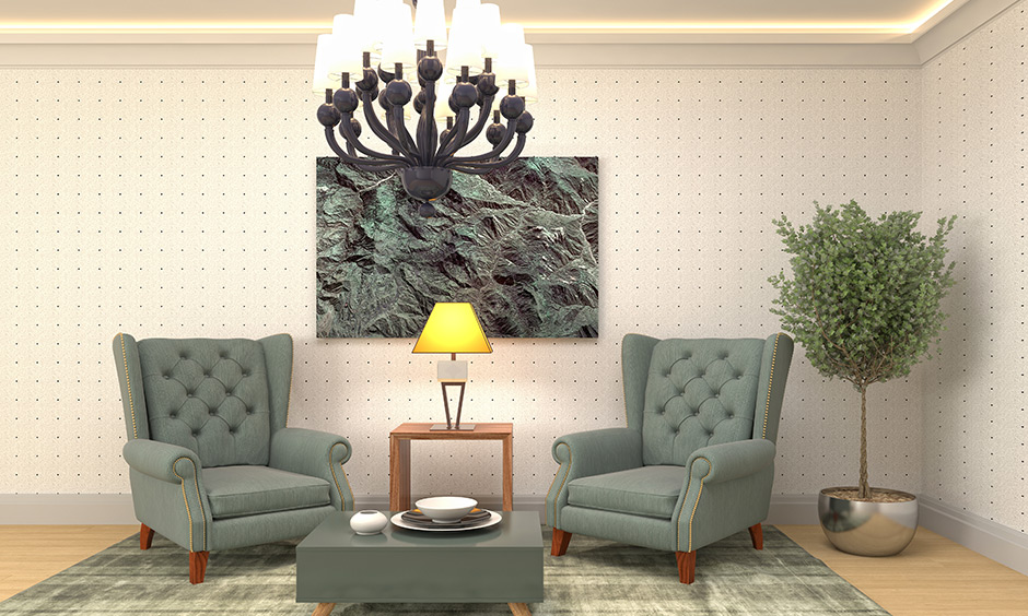 Twin single-seater chesterfield sofa furniture upholstery is padded coverings or textile fabric.