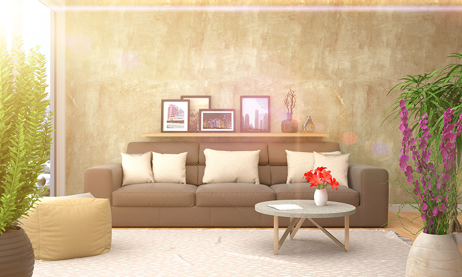 Dry clean upholstery at home quickly this brown sofa against a beige textured wall
