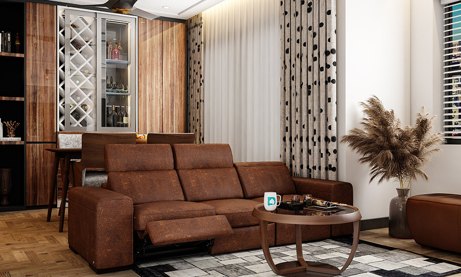 Seating chairs living room, the reclining sofa in brown adjustable to be backless by pushing the high headrest down.