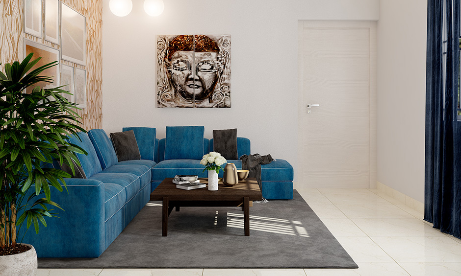 Bright blue sectional sofa bench for living room with grey pillows make you want to stay in your comfort zone forever.