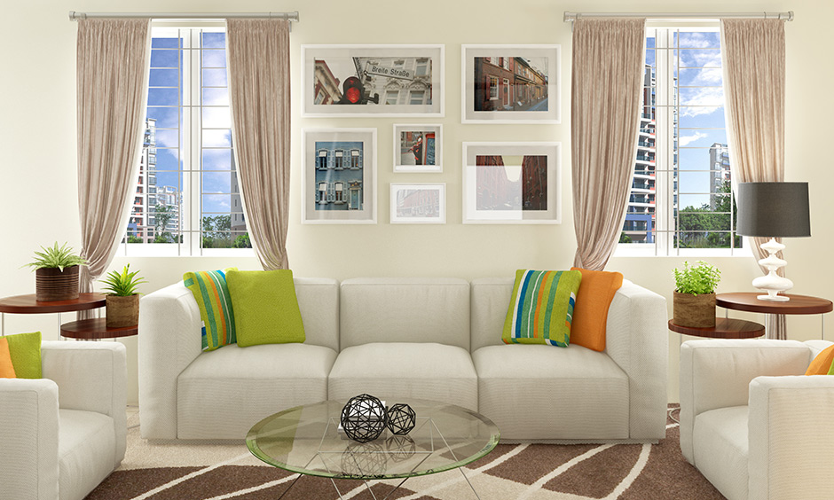 White sofa in living room seating furniture is perfect for small homes.