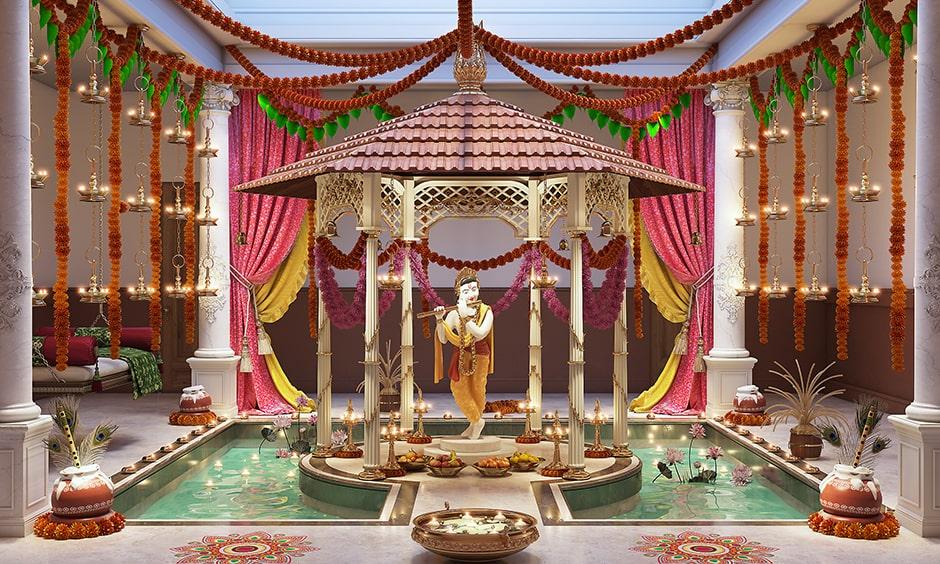 Janmashtami decoration home to bring lord krishna