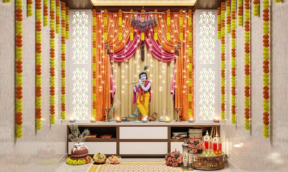 Simple janmashtami decoration at home