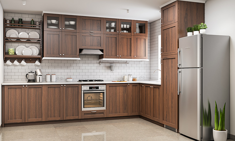 Natural wood kitchen cabinets section offers ample storage space for a clutter-free look in this kitchen room.