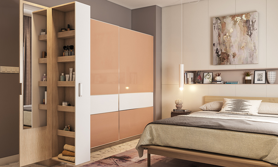Mirror sliding wardrobe door designs with tiny compartments to store all your cosmetics