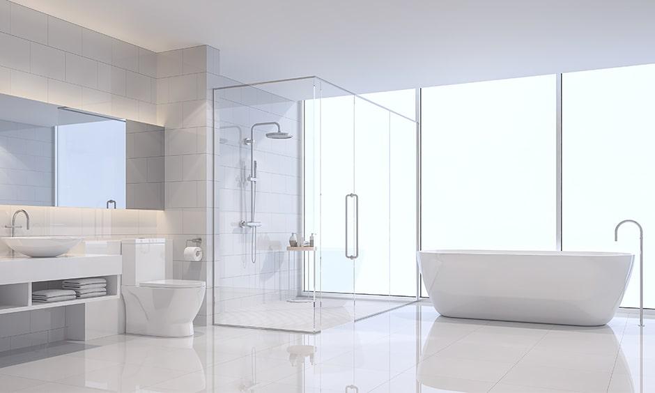 How to clean bathroom floor, use an anti slip white flooring and a posh bathtub