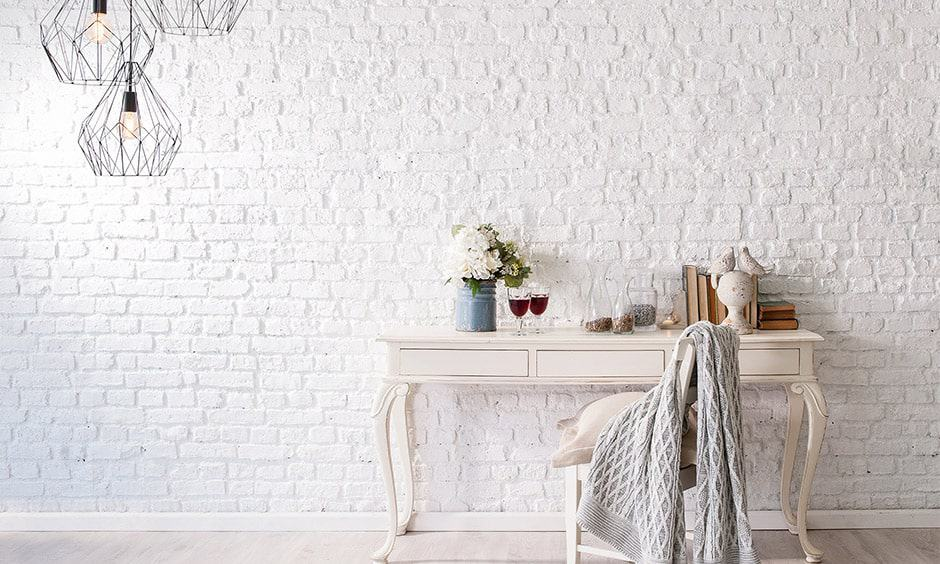 Minimal brick wall design is suitable for study rooms and living areas