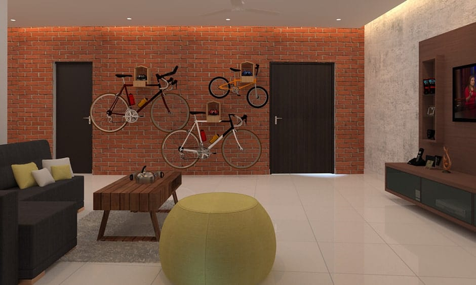Red brick wall design for your living room and it gives eco-friendly look to your brick wall design