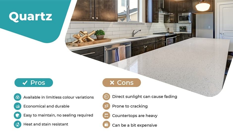 Quartz material for kitchen pros and cons
