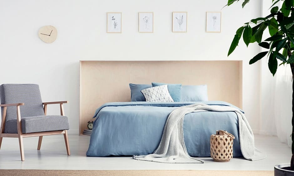DIY open box shaped wooden headboard design with a full-length plywood sheet