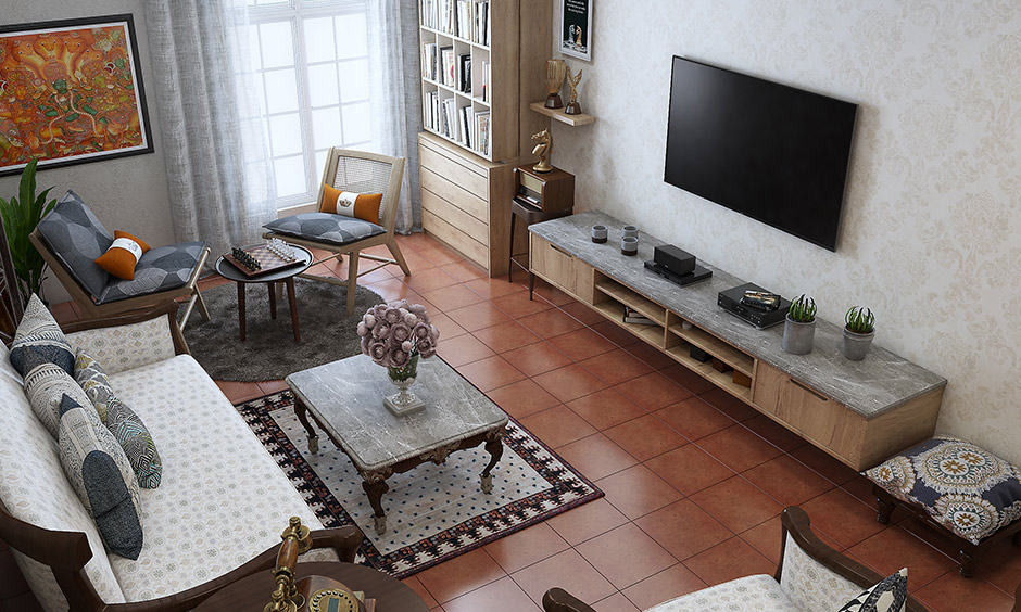 Living room floor design In terracotta living room floor carpet which are made from clay