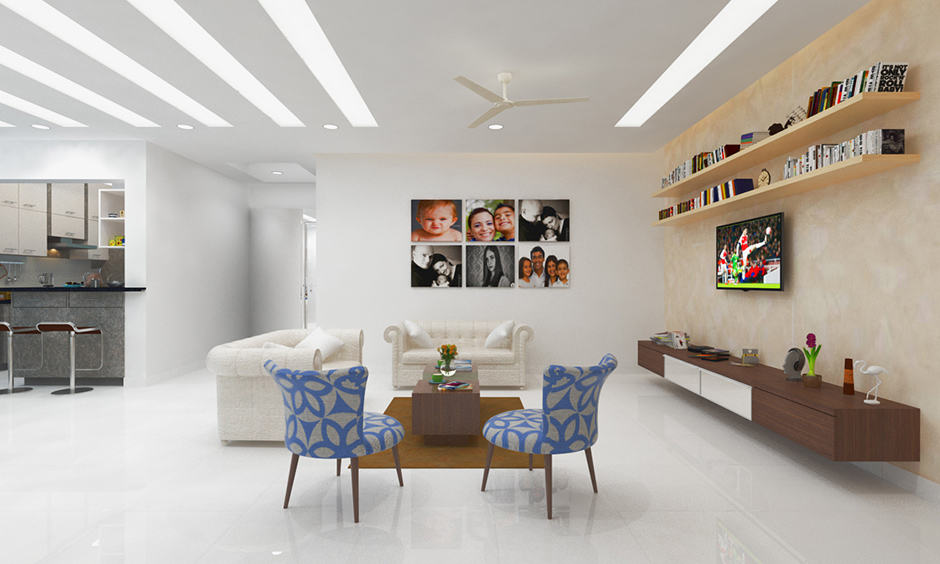 Living room flooring all in ceramic made from a white clay which are are durable and water-resistant