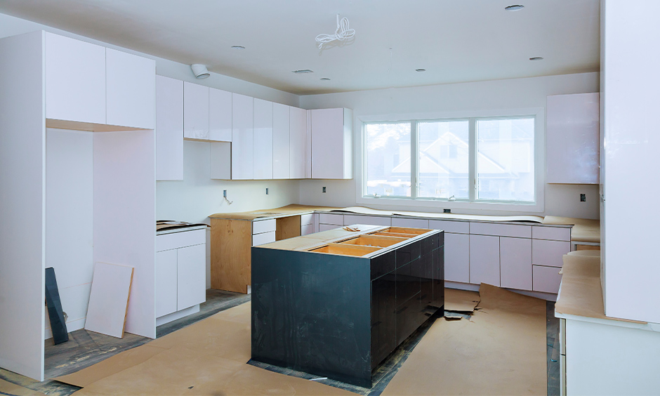 Civil kitchen where are basic in design and technology and are made by carpenter