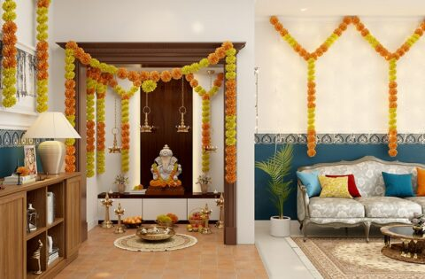 Ganpati decoration ideas or ganesh chaturthi decoration at home