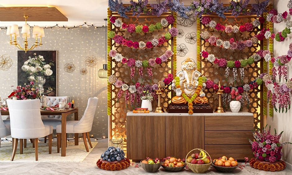 Ganpati mandap decoration 2020 with flowers and fruits for your home