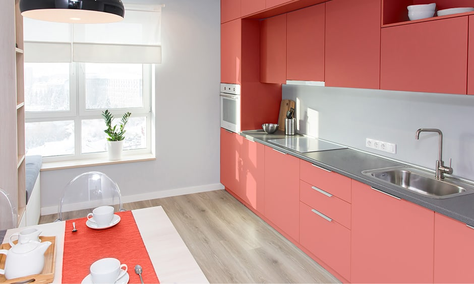 Chic bright coral colour with bright colors list that accentuates decors in bold colours for bright room colors