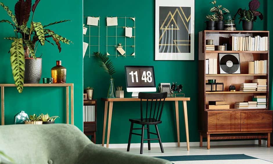 Striking teal or peacock blue bright paint colors for for large walls to showcase furniture decor for bright room colors
