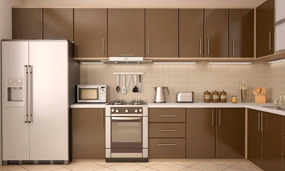 Dimensions for modular kitchen base cabinets to store large containers and vessels