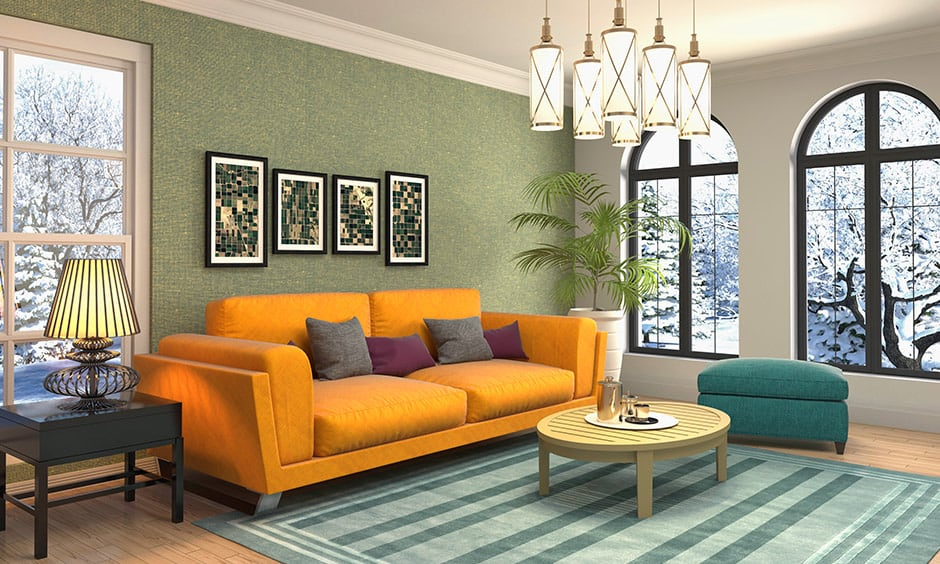 Golden sofa colour combination in this living room with arched windows are stunning.