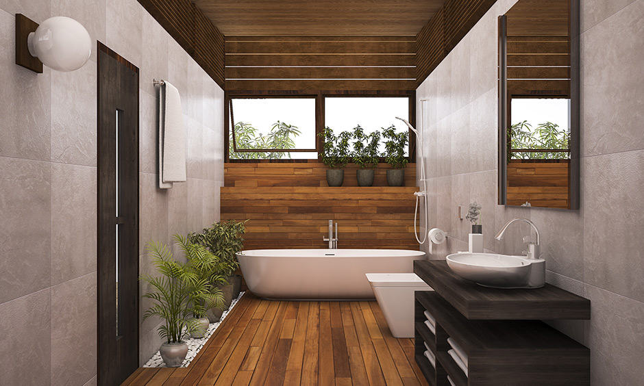 Bathroom interior decoration with wooden panel & plant around in this bathroom brings a rusty touch.