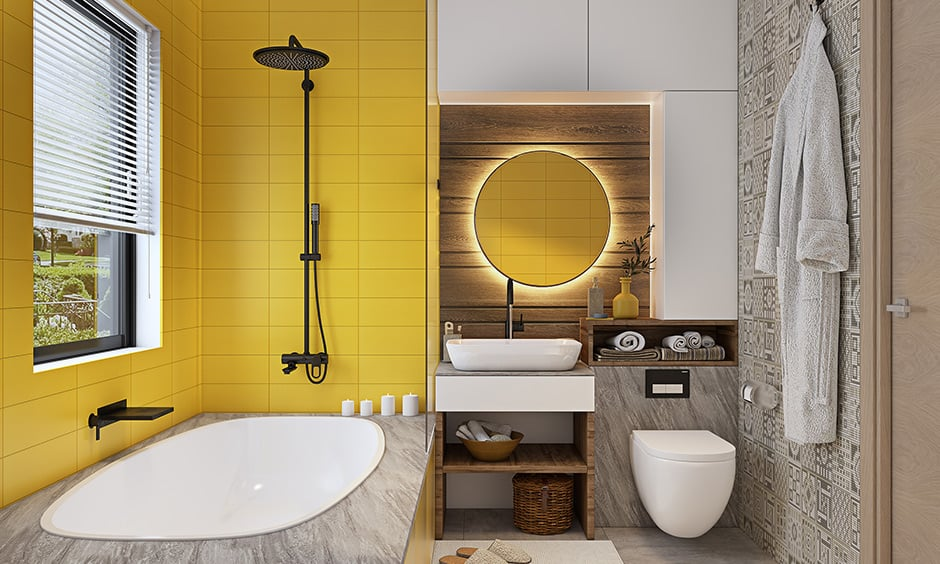 Luxury small modern bathroom features a blend of different walls