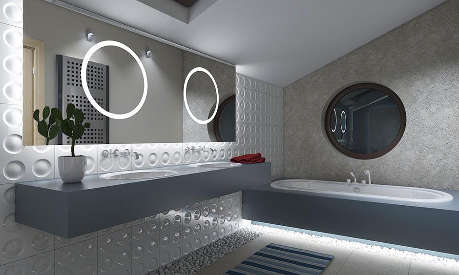 Luxury bathroom tiles with full-length mirror with led strip