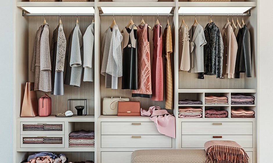 Girls wardrobe and women's wardrobe designed based on requirements, size allocation, and trends like drawers and hanging compartment.