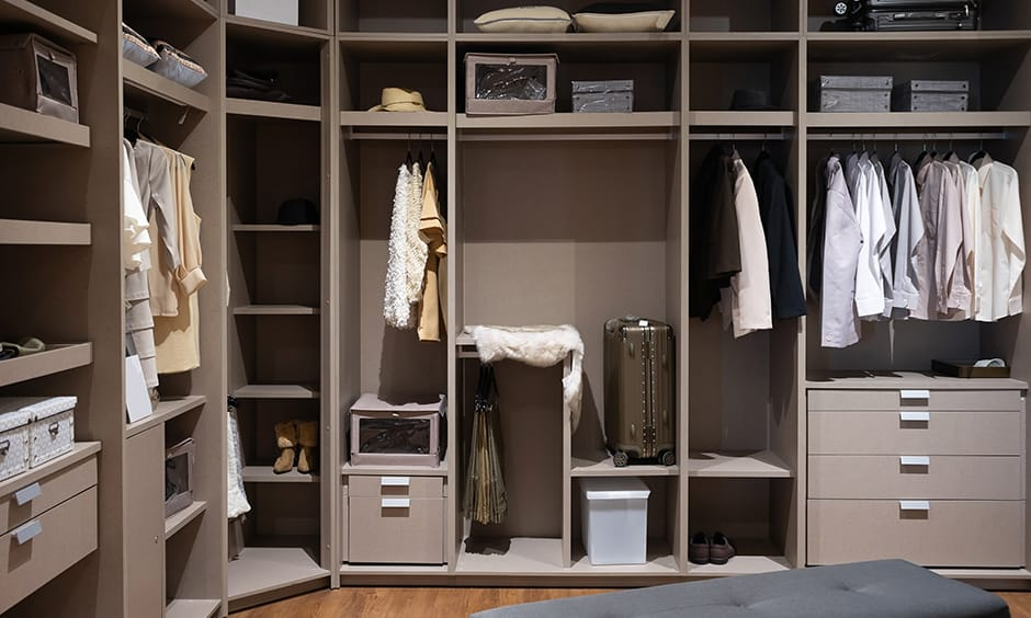 Women's wardrobe design with luggage, jewellery, clothes till all necessities storage option looks smooth and chic.