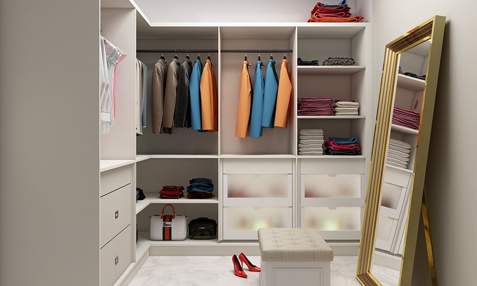 Vintage women's wardrobe with optimum use of space for storing collectables, essentials in a meticulous manner.