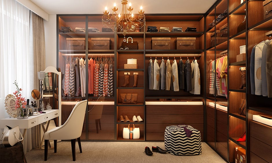 Women's or girls walk-in wardrobe designed with shelves, racks, draw-ups and other relevant storage is perfect.