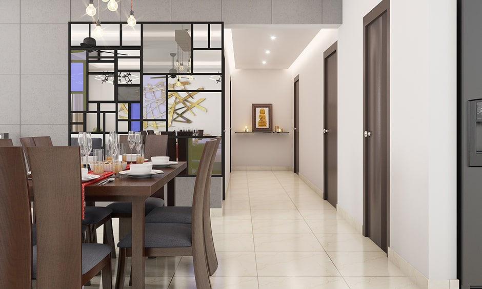 Back painted glass design for dining area with a back-painted glass partition